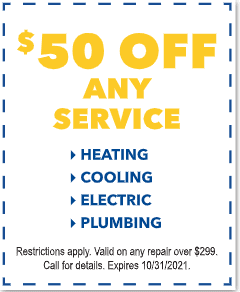 $50 Off Any Service Heating Cooling Electric Plumbing